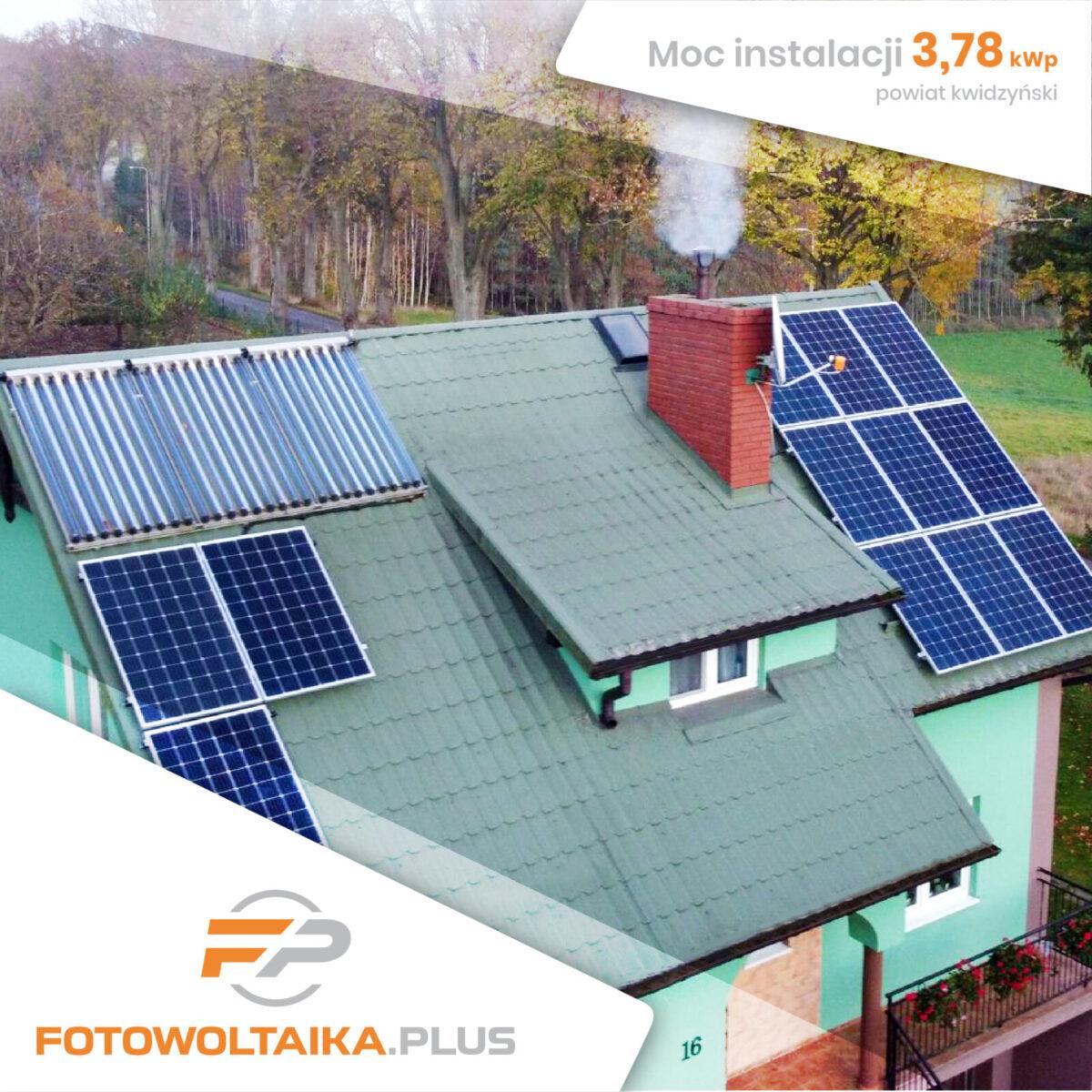 Instalacja fotowoltaiczna zmontażem wKwidzyniu omocy 3,78 kWp